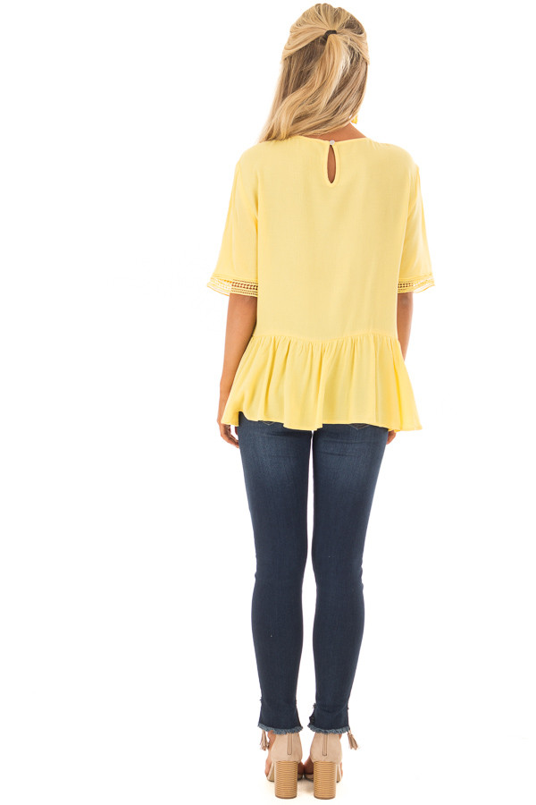 Sunshine Yellow Top with Crochet and Lace Details back full body