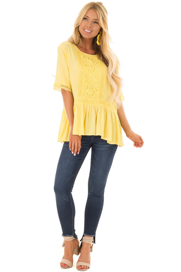 Sunshine Yellow Top with Crochet and Lace Details front full body