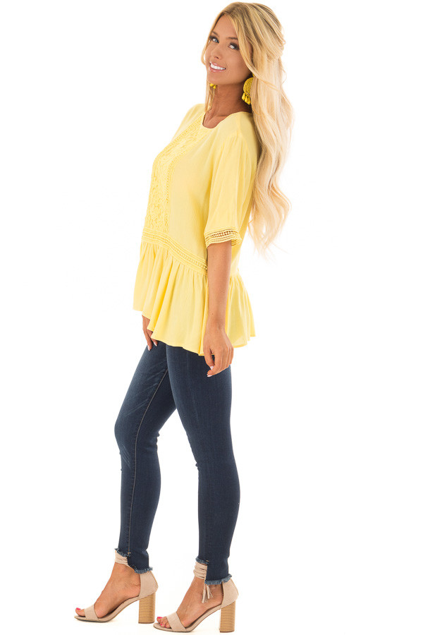 Sunshine Yellow Top with Crochet and Lace Details side full body