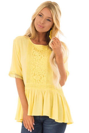 Sunshine Yellow Top with Crochet and Lace Details front closeup