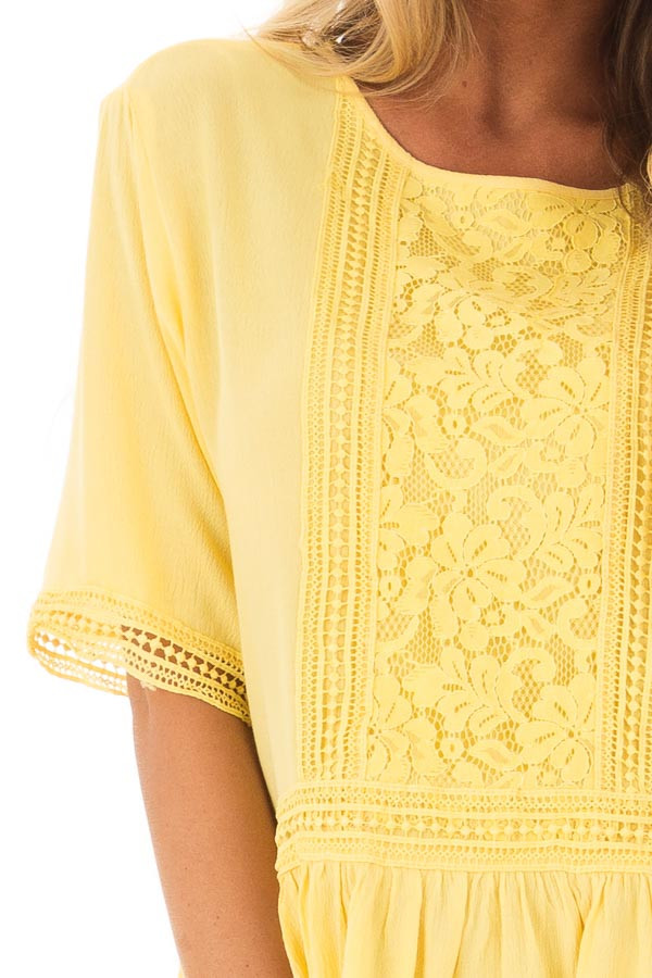 Sunshine Yellow Top with Crochet and Lace Details front detail