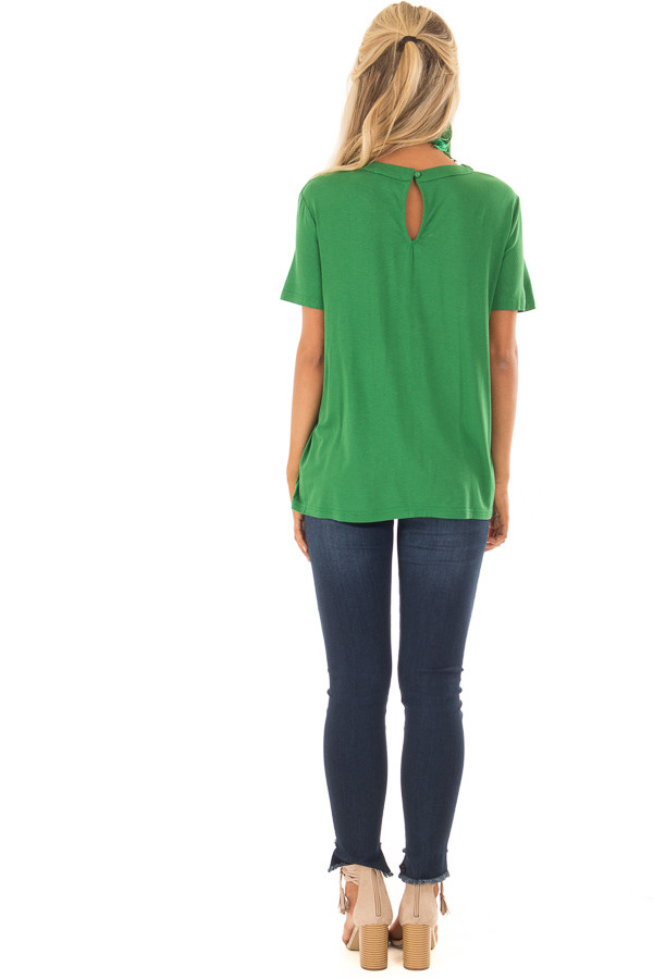 Fern Green Tee Shirt with Strappy Cut Out Neckline back full body