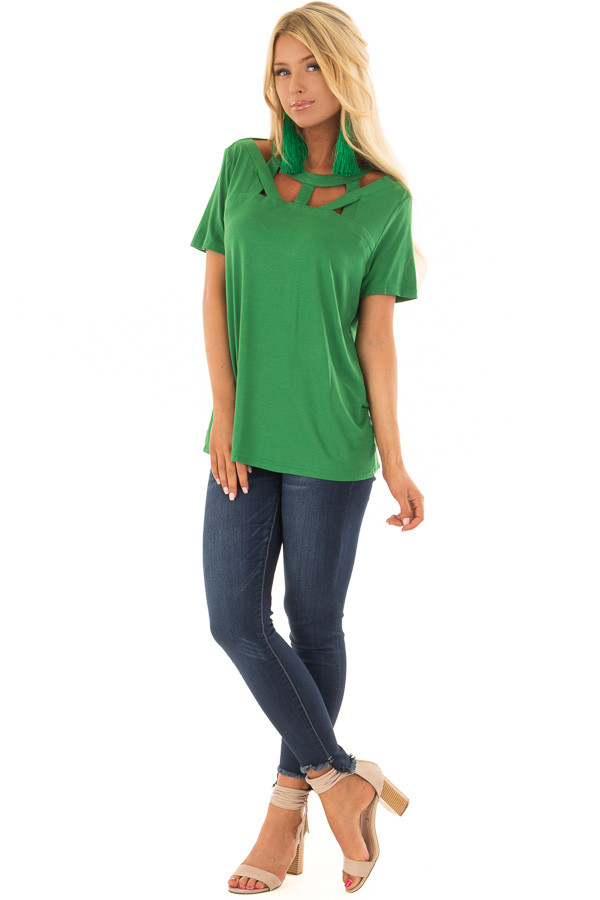 Fern Green Tee Shirt with Strappy Cut Out Neckline front full body