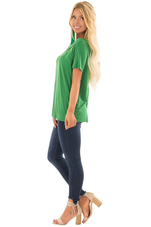 Fern Green Tee Shirt with Strappy Cut Out Neckline side full body