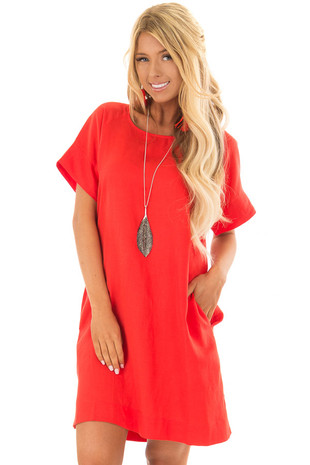 Candy Red Short Sleeve Shift Dress with Pockets front closeup