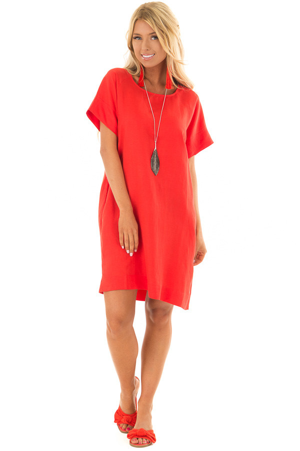 Candy Red Short Sleeve Shift Dress with Pockets front full body