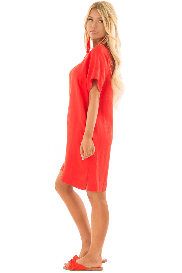 Candy Red Short Sleeve Shift Dress with Pockets side full body