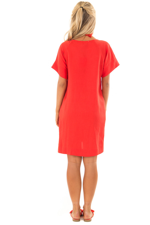 Candy Red Short Sleeve Shift Dress with Pockets back full body