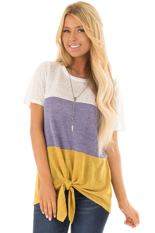 White Slate and Mustard Color Block Tee Shirt with Tie Detail front closeup