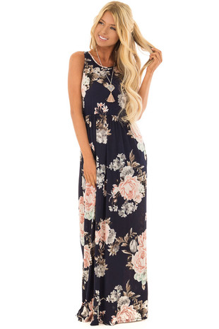 Navy and Blush Floral Print Maxi Dress with Side Pockets front full body