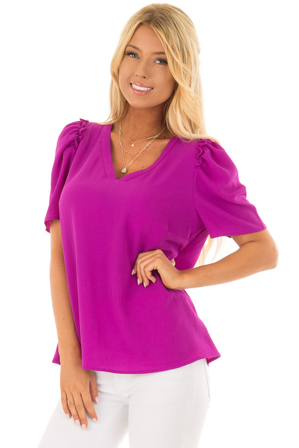 Orchid Short Sleeve V Neck Blouse with Ruffle Sleeves front closeup