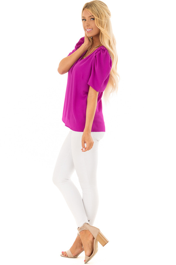Orchid Short Sleeve V Neck Blouse with Ruffle Sleeves side full body