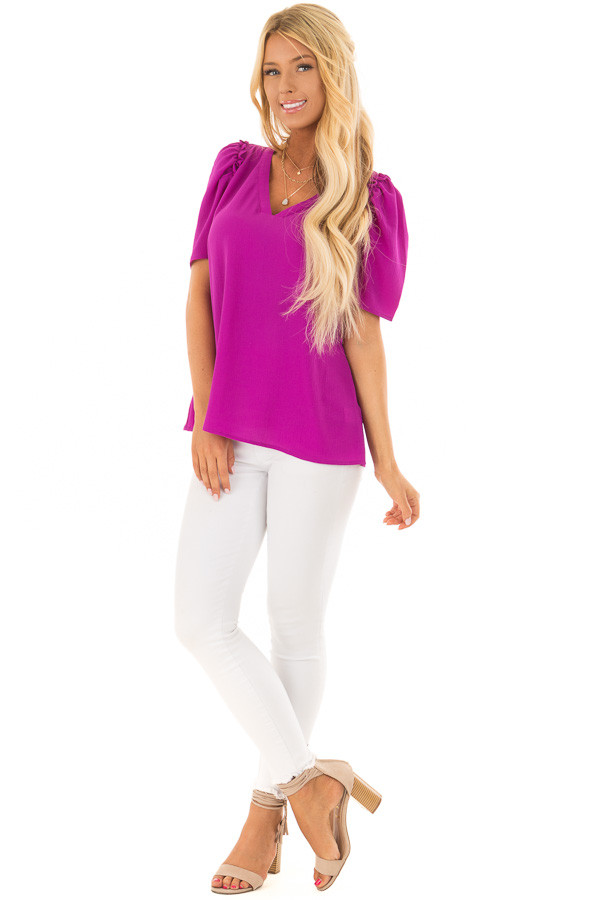Orchid Short Sleeve V Neck Blouse with Ruffle Sleeves front full body