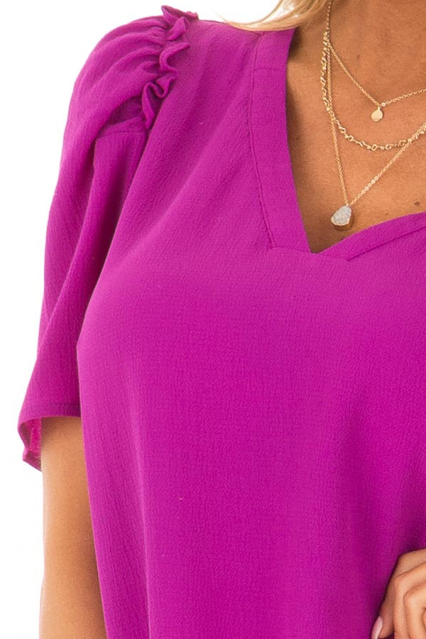 Orchid Short Sleeve V Neck Blouse with Ruffle Sleeves front detail