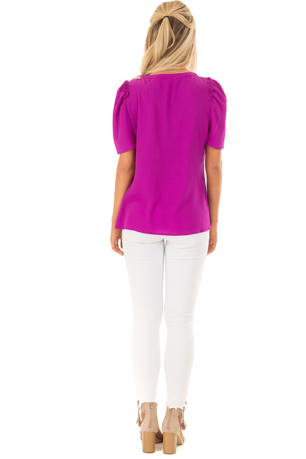 Orchid Short Sleeve V Neck Blouse with Ruffle Sleeves back full body