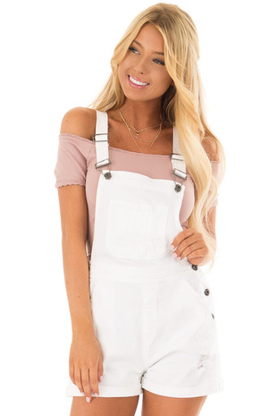 White Denim Overall Shorts with Distressed Details front closeup