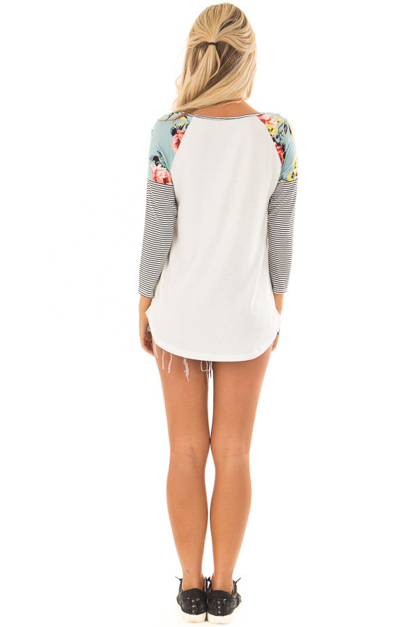 Ivory Baseball Tee with Floral Shoulders and 3/4 Sleeves back full body