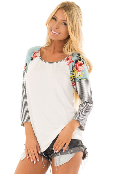 Ivory Baseball Tee with Floral Shoulders and 3/4 Sleeves front closeup