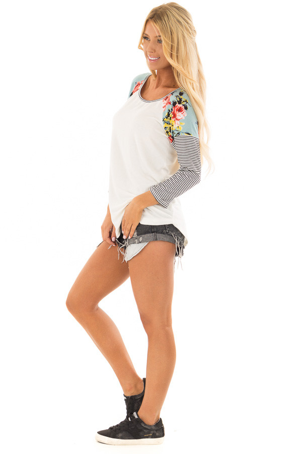 Ivory Baseball Tee with Floral Shoulders and 3/4 Sleeves side full body