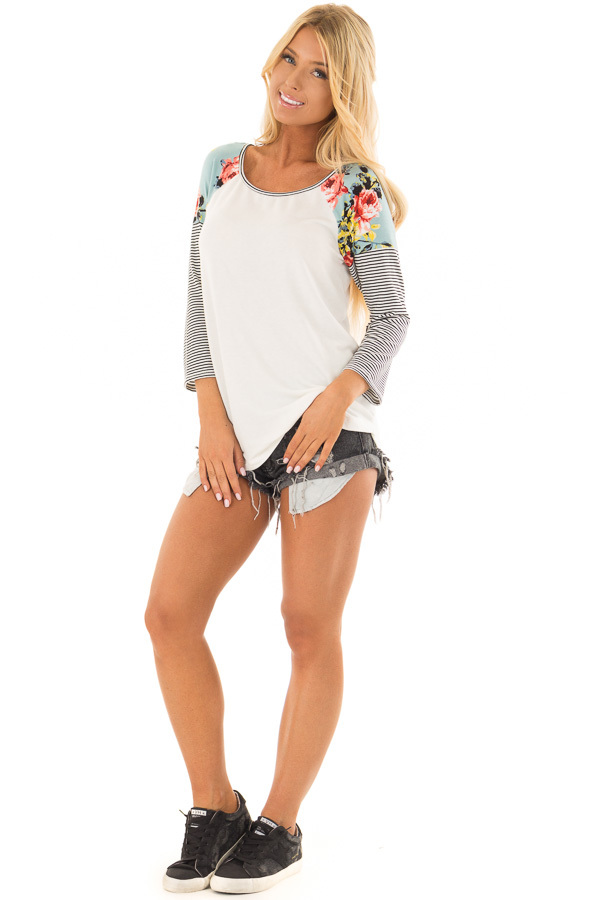 Ivory Baseball Tee with Floral Shoulders and 3/4 Sleeves front full body