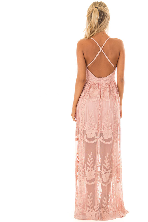 Blush Embroidered Lace Maxi Dress with Criss Cross Straps back full body