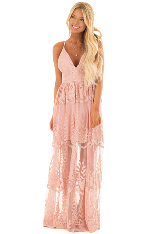 Blush Embroidered Lace Maxi Dress with Criss Cross Straps front full body