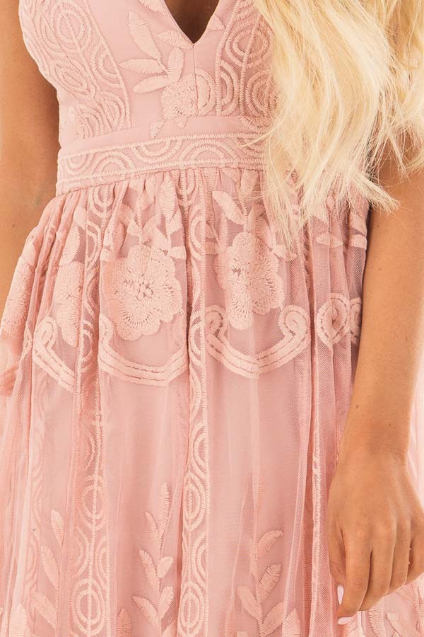 Blush Embroidered Lace Maxi Dress with Criss Cross Straps front detail