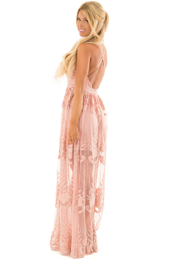Blush Embroidered Lace Maxi Dress with Criss Cross Straps side full body