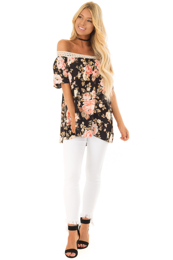 Black Floral Print Off the Shoulder Top with Crochet Trim front full body