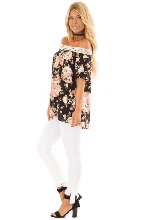 Black Floral Print Off the Shoulder Top with Crochet Trim side full body