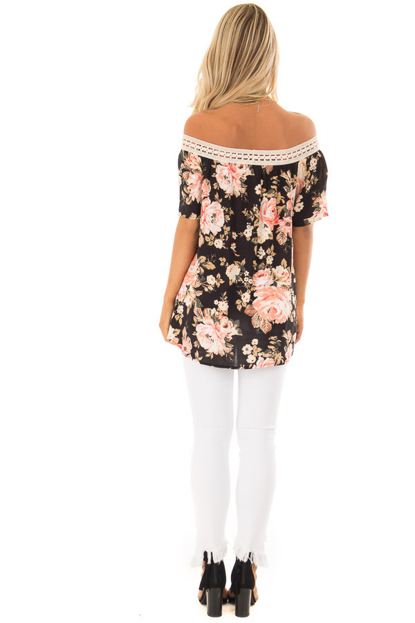 Black Floral Print Off the Shoulder Top with Crochet Trim back full body