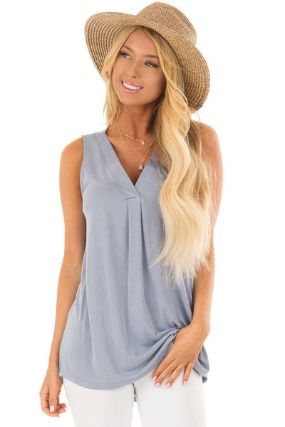 Dusty Blue Comfy Tank Top with Split V Neck front closeup