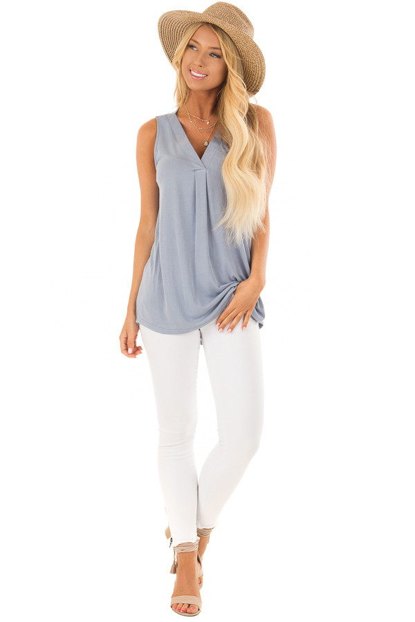 Dusty Blue Comfy Tank Top with Split V Neck front full body