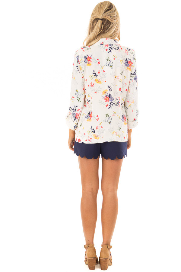 Cream Floral Print Blazer with Tabbed Sleeves back full body