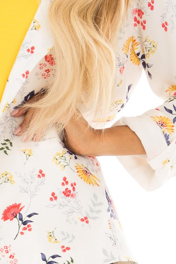 Cream Floral Print Blazer with Tabbed Sleeves front detail