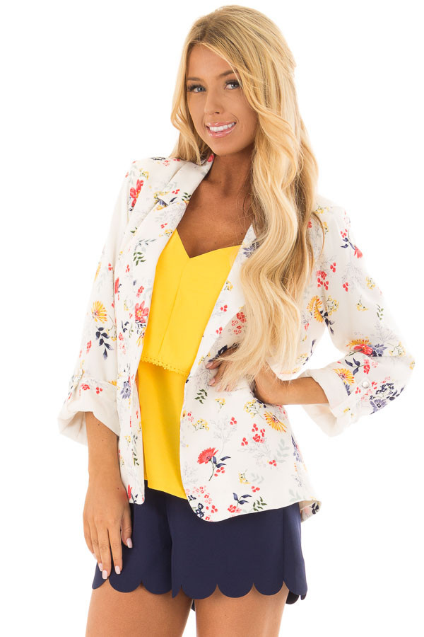Cream Floral Print Blazer with Tabbed Sleeves front closeup