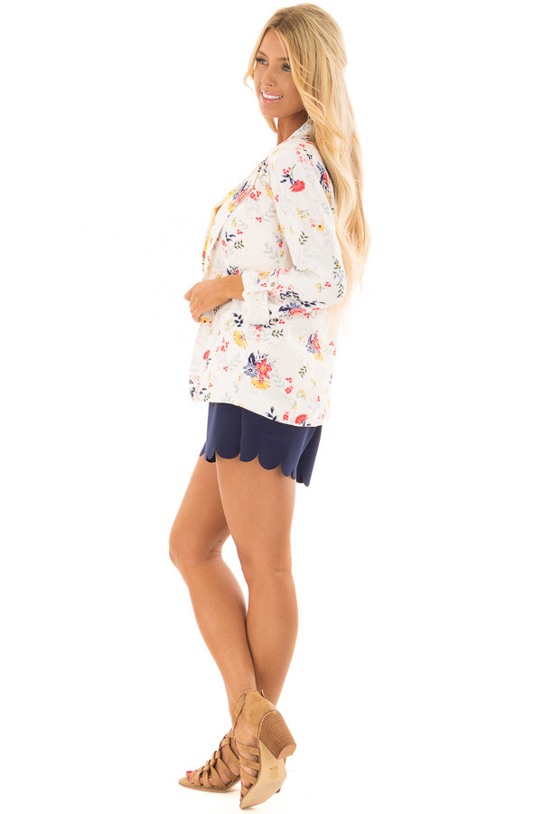 Cream Floral Print Blazer with Tabbed Sleeves side full body