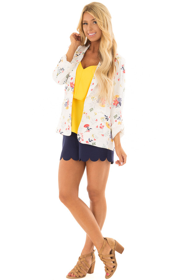 Cream Floral Print Blazer with Tabbed Sleeves front full body