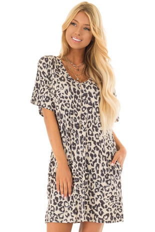 Beige Leopard Print T Shirt Dress with Side Pockets front closeup