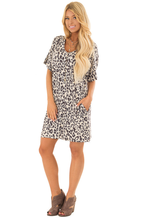 Beige Leopard Print T Shirt Dress with Side Pockets front full body