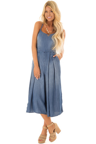 Denim Cropped Wide Leg Jumpsuit with Criss Cross Back front full body