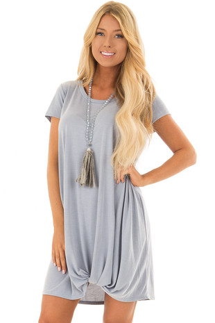 Slate Blue Soft Tee Shirt Dress with Knot Hemline front closeup