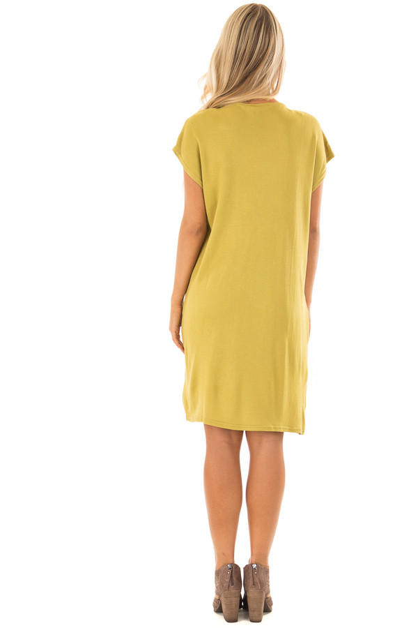 Avocado Short Sleeve Loose Fit Dress with Pockets back full body