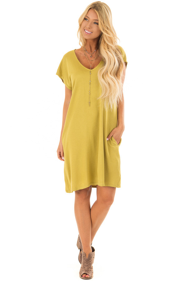 Avocado Short Sleeve Loose Fit Dress with Pockets front full body