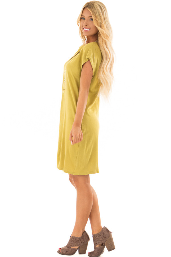 Avocado Short Sleeve Loose Fit Dress with Pockets side full body
