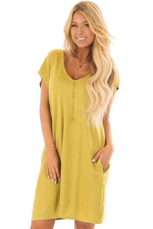 Avocado Short Sleeve Loose Fit Dress with Pockets front closeup