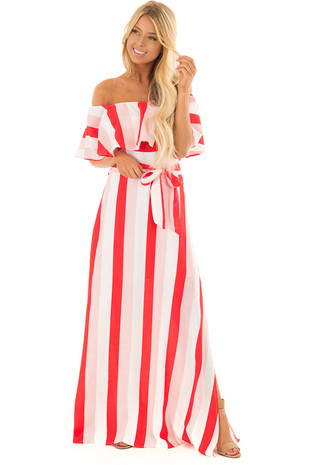 Red and White Striped Off Shoulder Maxi Dress with Waist Tie front full body