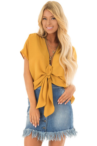 Mustard Short Sleeve Front Tie Top with Gathered Shoulders front closeup