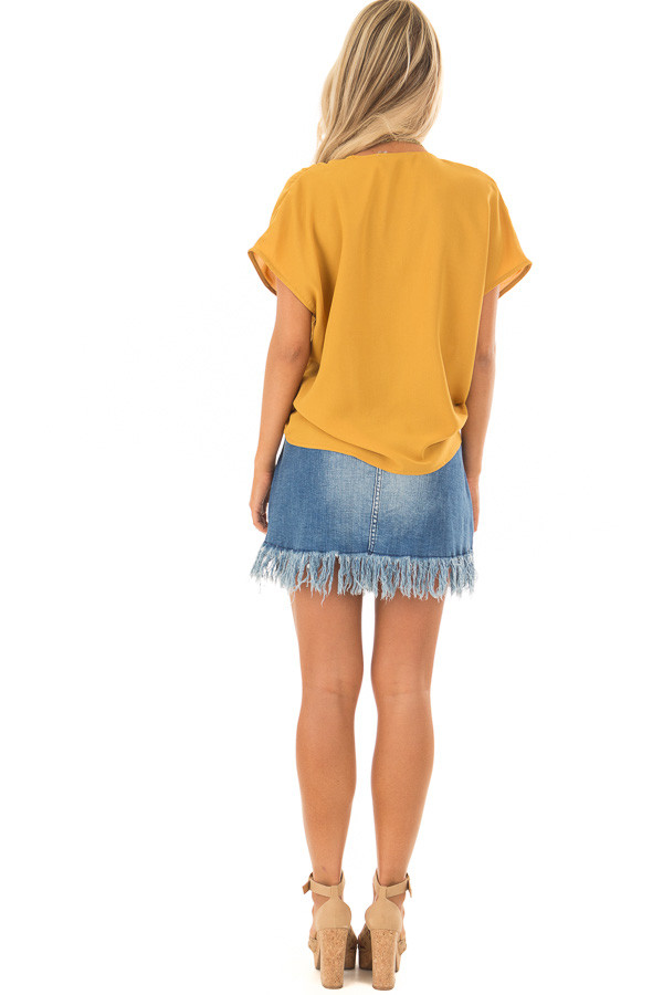 Mustard Short Sleeve Front Tie Top with Gathered Shoulders back full body