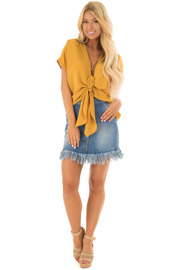 Mustard Short Sleeve Front Tie Top with Gathered Shoulders front full body
